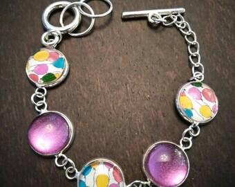 Balloons and sugar plum glimmer link bracelet!
