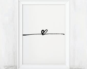 Heart, Printable, Heart Print, Heart Art Print, Heart Sign, Heart Decor, Love Art, Love Decor, Heart Poster, Love Poster, Love Art Print