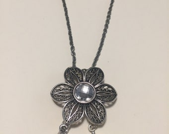 Pewter chain with flower pendant