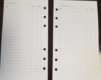 printed  assignment tracker personal size, homework tracker, assignment log, homework log, college homework helper
