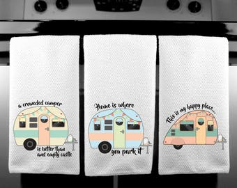 Happy Camper Kitchen Towels / Choice of sizes / Vintage Camper / Terrycloth Towels