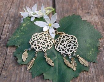 Dream catcher flower of life earrings