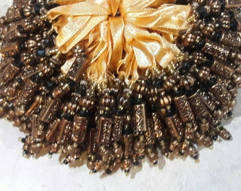 Brown Gold tube bead, around 50 pieces, chandelier, hanging accessories, craft, decorative, ribbon, yellow, dark gold