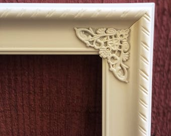 11x14 ivory ornate picture frame home decor wall decor nursery photo frame shabby chic rustic vintage style upcycled repurposed
