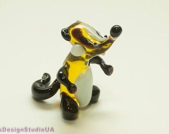 Glass Figurine Badger Blown Glass Animals Badger Glass Figurines Glass art Murano Glass Badger Blown Glass Animals Glass Sculpture Lampwork