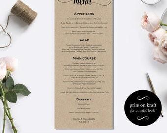 Downloadable kraft card wedding menu - DIY Wedding Dinner Menu Card Template - Rustic wedding menu - Elegant Kraft Wedding Menu #WDH0064