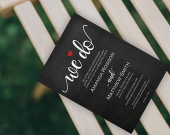 We do wedding invitations chalkboard | We do red heart wedding invitation | Printable we do chalk wedding |  Downloadable Wedding #WDH0167