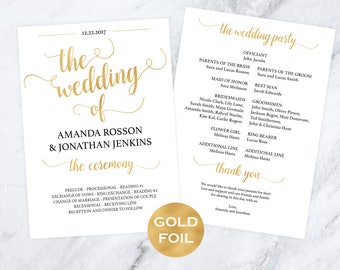 Gold Wedding Program, Wedding Template - Double Sided Program - P Wedding Template - Program Printable - Downloadable wedding #WDH812228