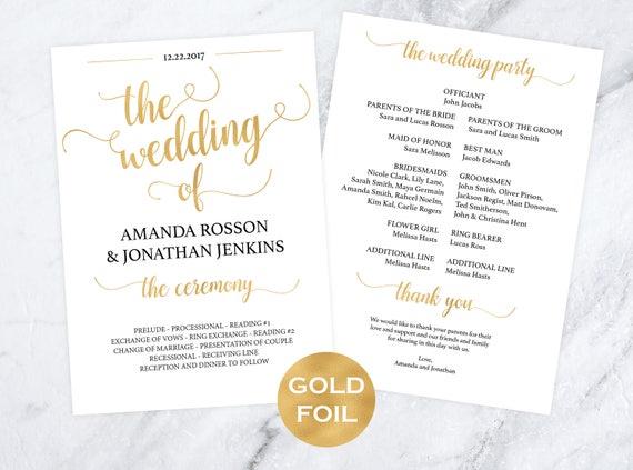 Gold wedding program templates