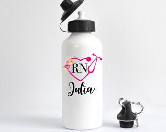 Nurse Water Bottle, RN Water Bottle, Nurse Gift, Gift for RN, Nurse Graduation Gift, Personalized Nurse Water Bottle, Registered Nurse Gift