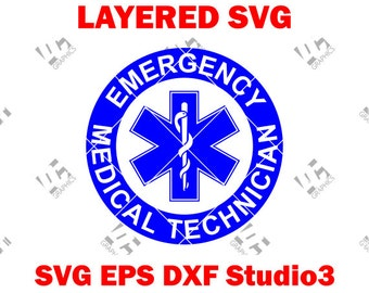 EMS Star of Life - Round EMT Logo - Emergency Medical Technician Cutting File in SVG, Eps, Dxf, and Studio3, Cricut, Silhouette Cameo Studio