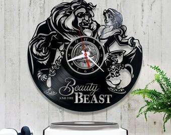 Beauty and the Beast Vinyl Clock  Disney Record  Unique Wall Clock  Christmas Gift  Birthday Gift  Kids Room Decor  1/5/5
