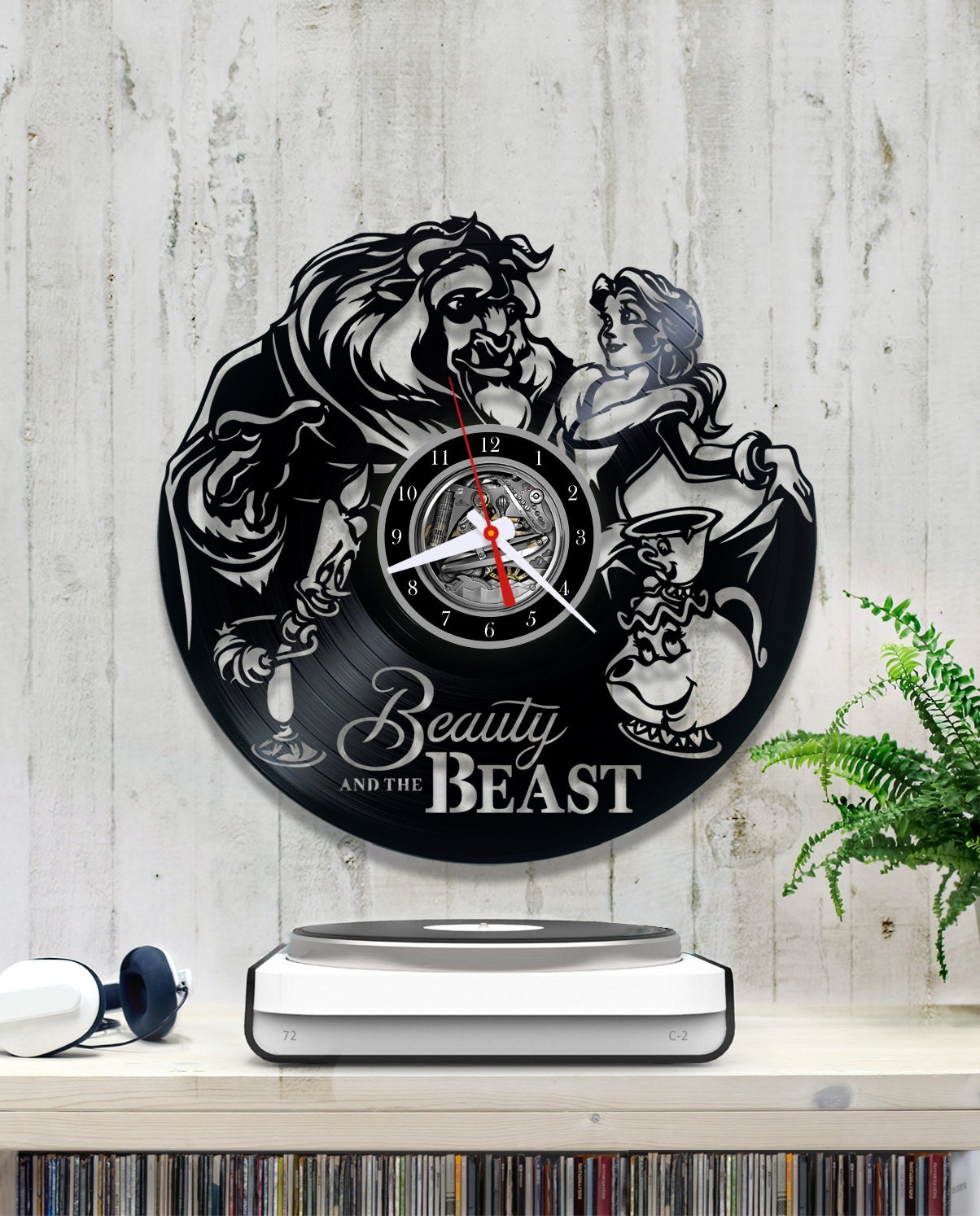 Beauty And The Beast Unique Couple Tattoos: Beauty And The Beast Vinyl Clock Disney Record Unique Wall