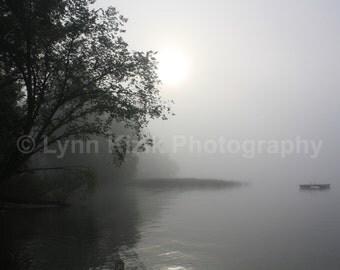 Morning Fog Photo, Lake Fog Photo, Foggy Landscape Photo, Misty Morning Photo, Fog Photo, Nature Photo, Lake Photo, Home Decor, Canvas Print