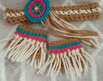 Native American Princess Headband and Ankle Cuffs Photo Prop