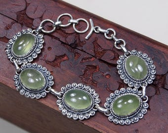 Green Prehnite Bracelet, 925 Sterling Silver,Genuine Natural Prehnite Jewelry,Gift for her, jewelry Party Birthday Gift