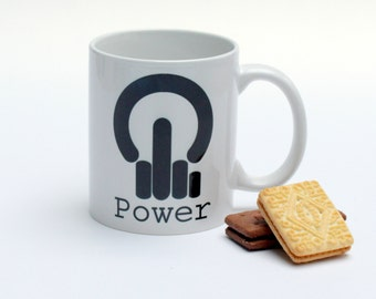Novelty mug - Geek mug - computer mug - anti power button - anarchy button