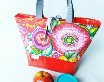Lunch bag, insulated, waterproof, very roomy, large bag, floral, multicolour, red, glitter, lunch bag, lunch time, insulated bag,