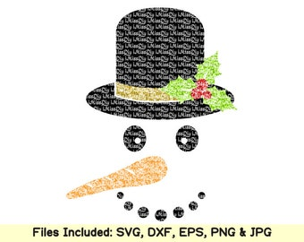 Christmas snowman face Svg files for Cricut Silhouette svg designs dxf cutting file cut files winter decor clipart patterns Instant Download
