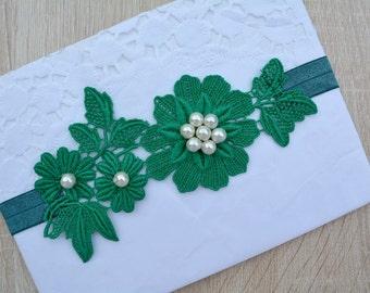 Bridal Garter Set, Bridal Garter Belt, Green Garter, Keepsake Garter, Toss Garter, Green Wedding Garter, Green Garter Set, Soft Lace Garter