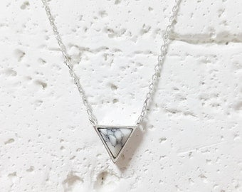Triangle Marble Necklace, White/Black Stone Necklace, White/Black Marble Necklace, Stone Jewelry, Minimalist Necklace, Gift for her