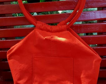Red canvas bag with zipper