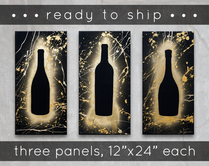 "wine // ready-to-ship original painting set // 3 @ 12""x24"" // modern tripriptych // kitchen + beverage art // spray paint + splatter"