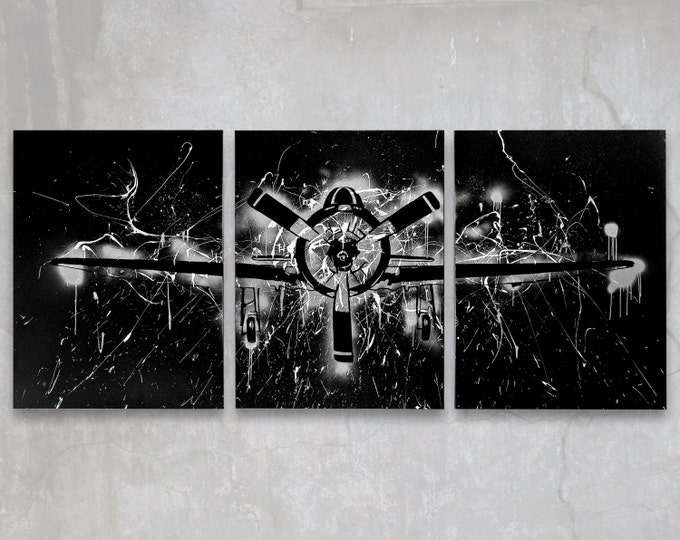t-28 trojan // custom original painting // modern triptych // airplane art // metallic large wall art // silver plane painting silhouette