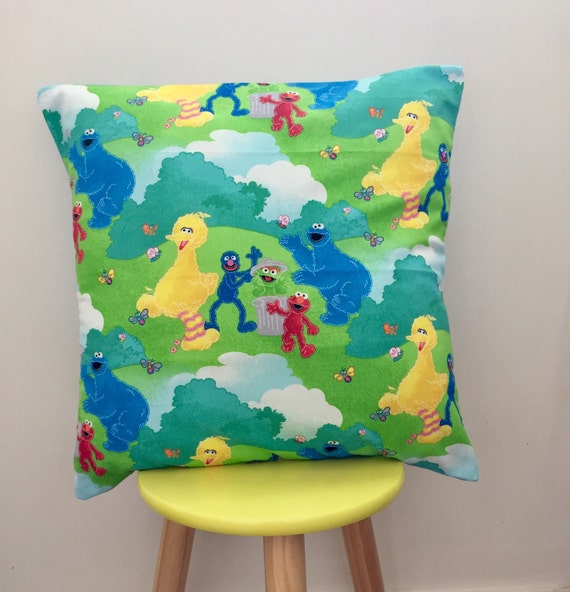 Sesame street cushion cover, elmo, bigbird, Cookie Monster, oscar the grouch and grover. Birthday gift. Christening gift. New baby gift