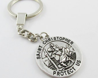 Protect Us Saint Christopher Keychain Keyring Great Gift