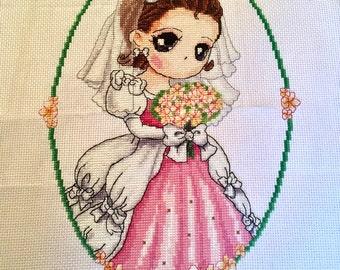 Kawaii bride completed cross stitch, handmade wedding present, bridesmaid gift, wedding shower gift, cross stitch handmade wall art,