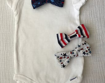 Onesie with Snap On Interchangeable Bow Ties-Patriotic, American, Red White & Blue