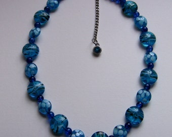 Gorgeous blue glass beaded necklace