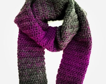 Magenta and Charcoal Ombre Scarfie