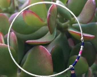 Silver beads ring miyuki blue and pink
