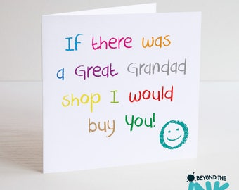 Cute Great Grandad Father's Day Card - I Would Buy You - Birthday Card