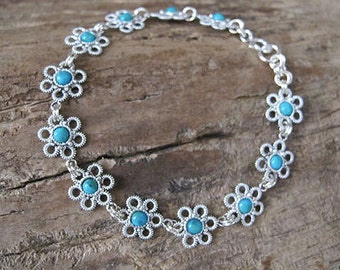 Sterling Silver bracelet with Turquoise - Flowers