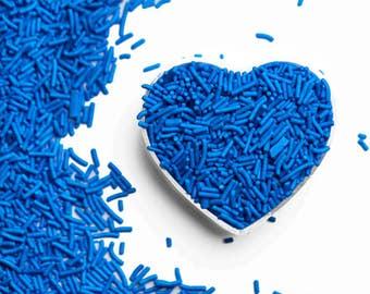 Bright Blue Crunchy Jimmies™, crunchy sprinkles, skinny sprinkles, sugar strands, canadian sprinkles, bright blue sprinklesFancy Sprinkles