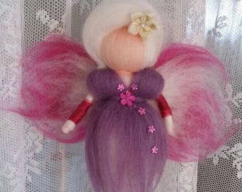 Wool fairy, Needle felted, purple fairy
