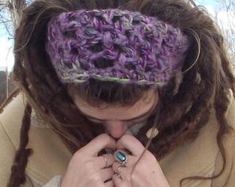 FREE SHIPPING Hand Crocheted Wool Boucle Green Purple White Headband Dreadband SALE