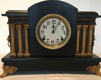 Antique Sessions Black Lion Head 6 Pillar Mantle Clock