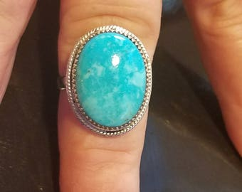 Turquoise Ring, Silver Turquoise Ring, Boho Turquoise Ring, Hippie Rings, Tribal Ring, Boho Jewelry, Christmas in July, Turquoise Jewelry