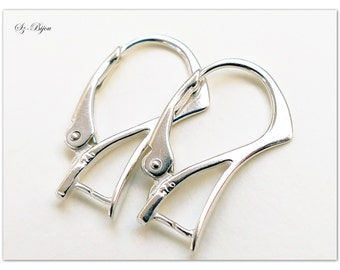 Silver ear hooks, silver earrings, sterling silver ear hooks, silver earwires, silver leverbacks, ear hooks for Swarovski Elements, 20mm