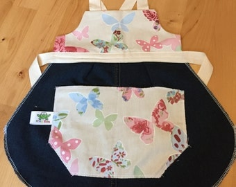 Children's Apron. Adjustable Apron. Toddler Apron. Butterfly Apron. Denim up-cycle. Girls Apron.
