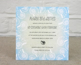 Blue Seashell Beach Wedding Invitation - SAMPLE ONLY