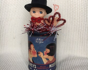 Valentine's Altered Hershey's Kiss Tin with Kewpie
