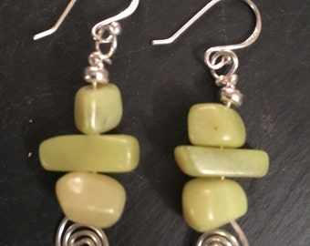 Jade and Sterling Silver Spiral of Life Earrings