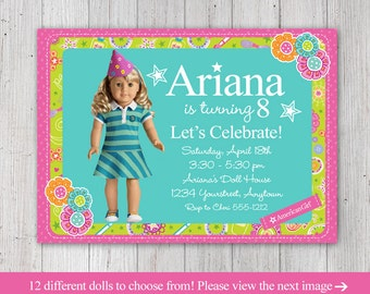 american girl party invitations  etsy, Birthday invitations