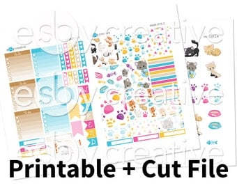 Sale - 25% Off! Cats Theme - Weekly Sticker Kit Printable for Erin Condren Horizontal - HWK-015 - INSTANT DOWNLOAD