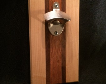 "The ""Clark"" Maple, Walnut and Mahogany Wood / Magnetic Bottle Opener"